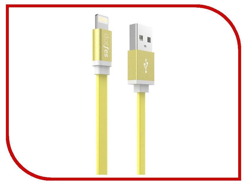 Аксессуар Dotfes USB - Lightning A05 2.5A 1m Yellow 14626<br>