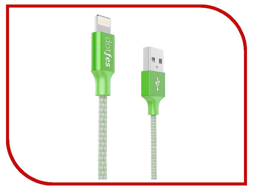 Аксессуар Dotfes USB - Lightning A06 2.5A 1m Green 14628 аксессуар dotfes microusb a09m self rolling 0 8m grey 14769