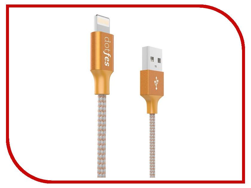 Аксессуар Dotfes USB - Lightning A06 2.5A 1m Orange 14629 зарядное устройство dotfes b03s 2xusb 4 8a lightning gold 03179