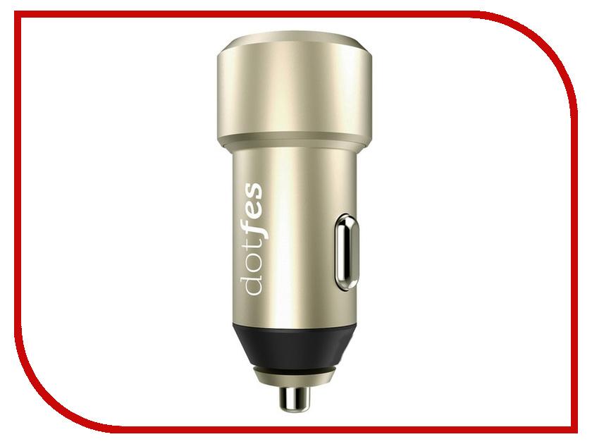 Зарядное устройство Dotfes B03 2xUSB 4.8A Gold 03169