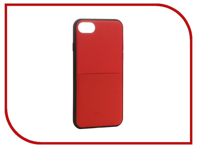 Аксессуар Чехол Dotfes G02 Carbon Fiber Card Case для APPLE iPhone 7 Red 47063