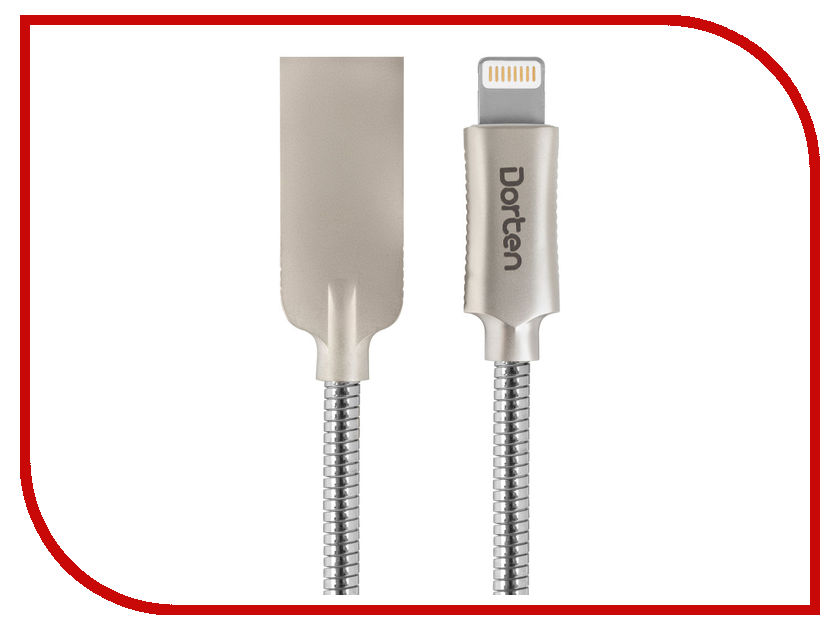 Аксессуар Dorten Steel Series USB - Lightning 1m Silver DN312501