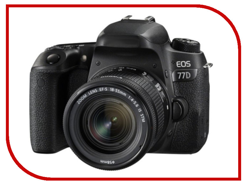 Фотоаппарат Canon EOS 77D Kit EF-S 18-55 mm F/3.5-5.6 IS STM фотоаппарат зеркальный canon eos 200d ef s 18 55 is stm kit black