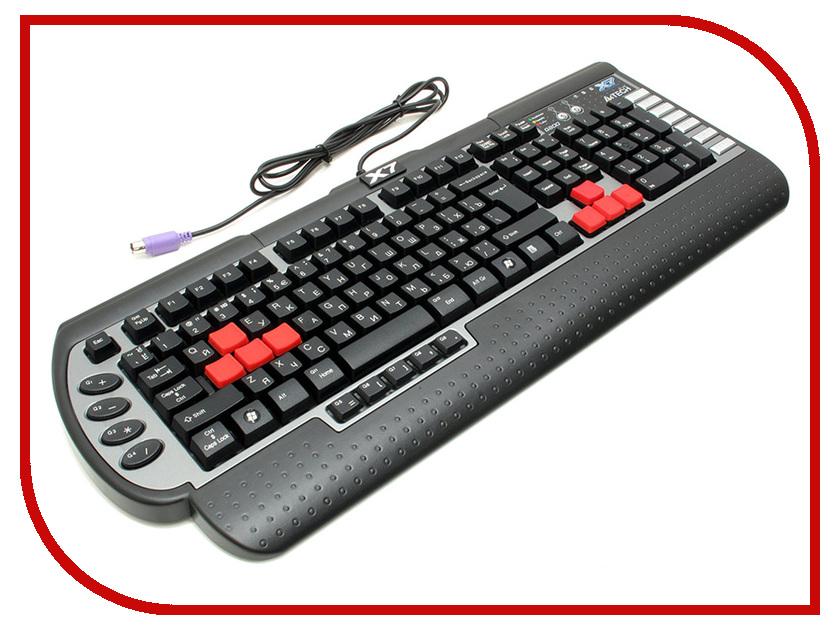 Клавиатура A4Tech X7-G800 Black-Silver PS/2 игровая клавиатура a4tech x7 g700 black