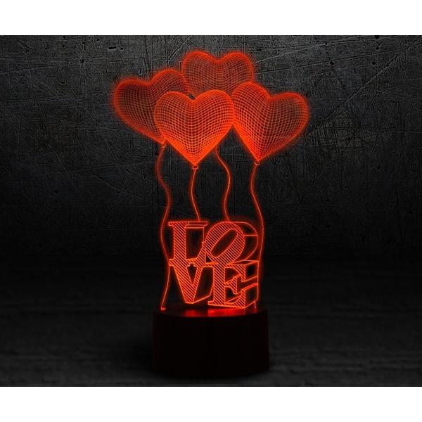 3D лампа 3d Lamp Сердечки LOVE