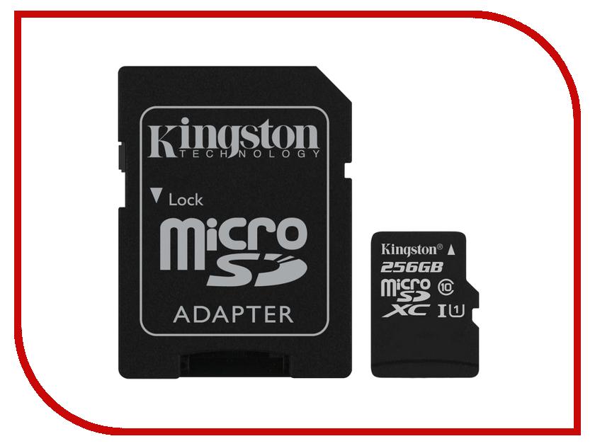 Карта памяти 256Gb - Kingston Micro Secure Digital XC Class 10 UHS-I SDC10G2/256GB с переходником под SD