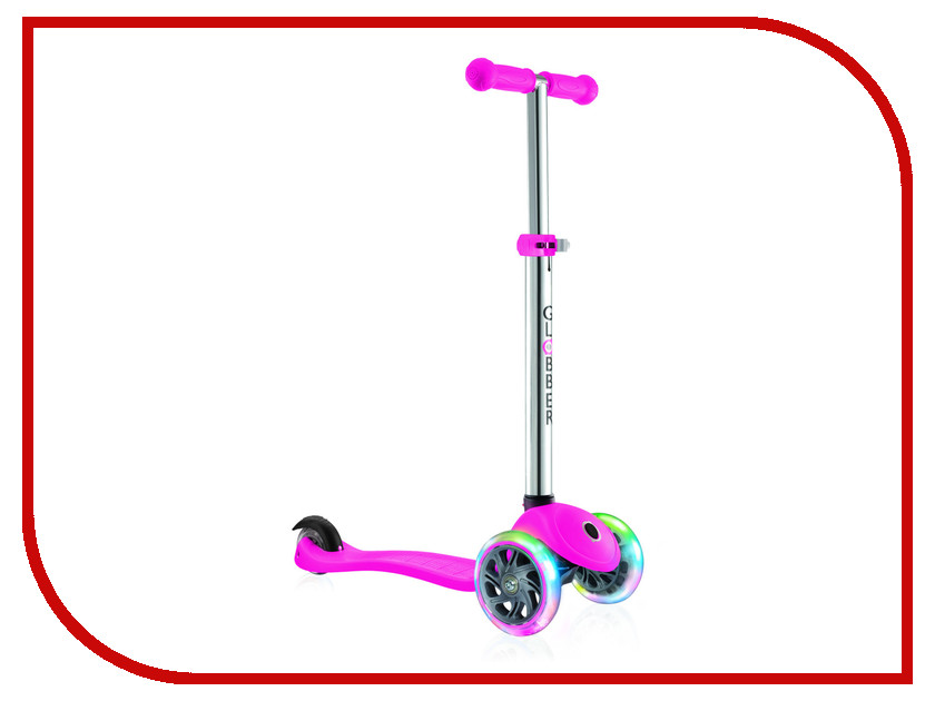 Самокат Y-SCOO Globber Primo Plus Titanium Neon Pink со светящимися колесами самокат 3 х колесный globber globber трехколесный самокат со светящимися колесами primo plus titanium neon bue
