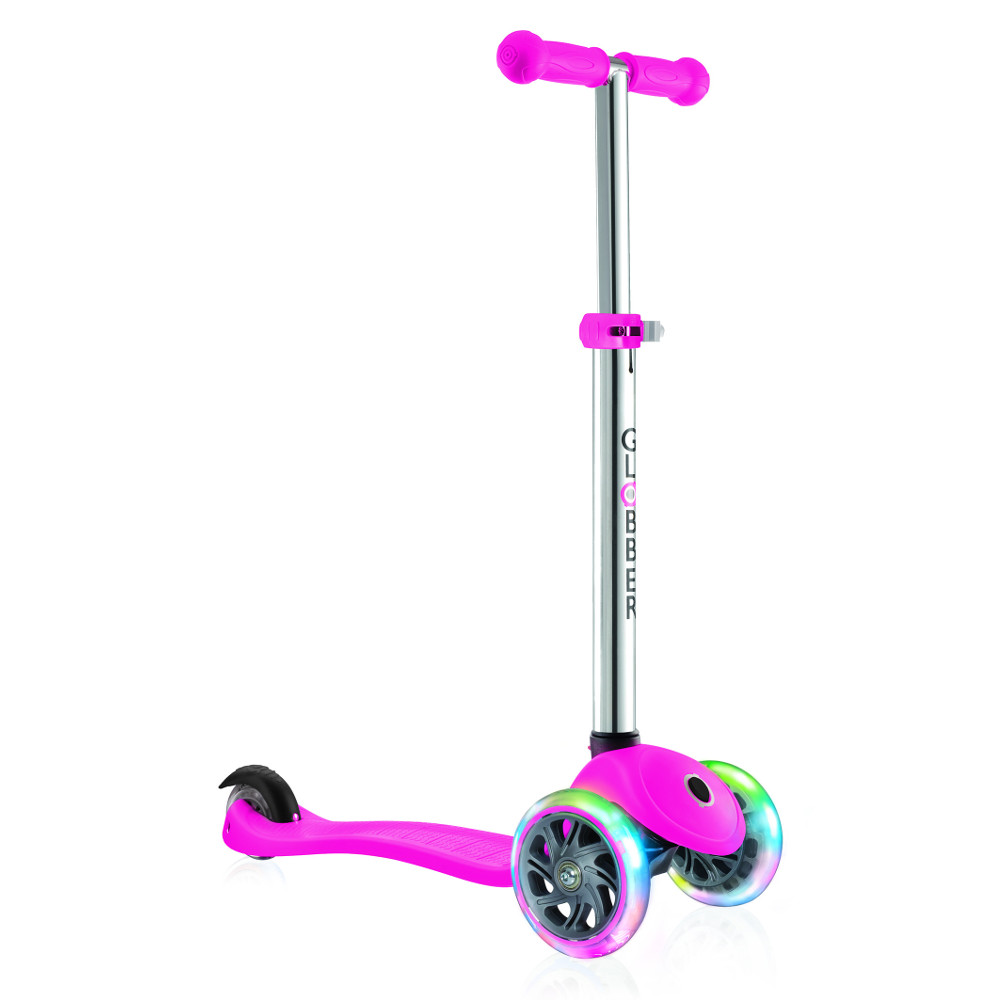 цена на Самокат Y-Scoo Globber Primo Plus Titanium Neon Pink со светящимися колесами