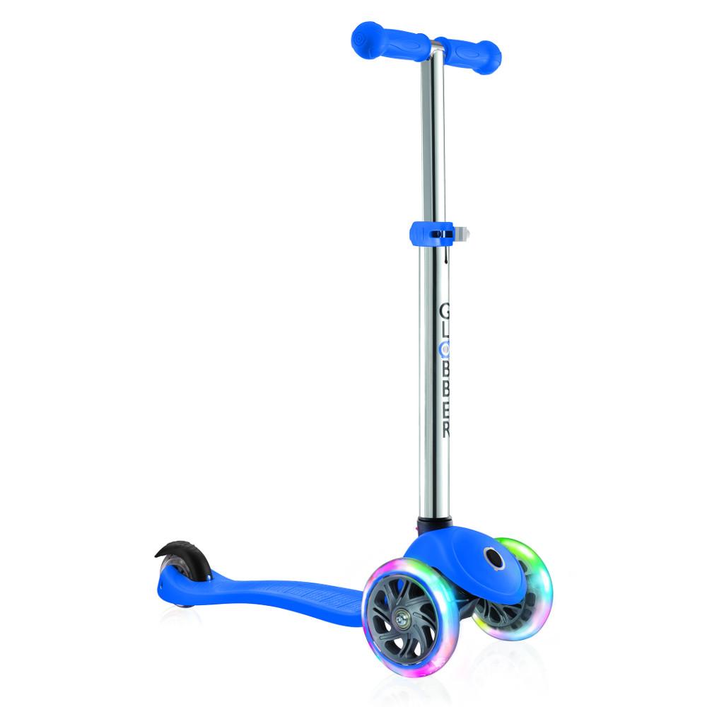 Самокат Y-Scoo Globber Primo Plus Titanium Neon Blue со светящимися колесами самокат y scoo globber primo fantasy big flowers neon pink со светящимися колесами