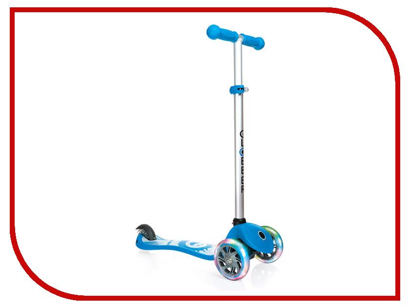 Самокат Y-SCOO Globber Primo Fantasy Smiling Sky Blue со светящимися колесами самокат y scoo mini jump&go pink со светящимися колесами