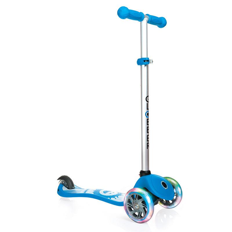 Самокат Y-Scoo Globber Primo Fantasy Smiling Sky Blue со светящимися колесами