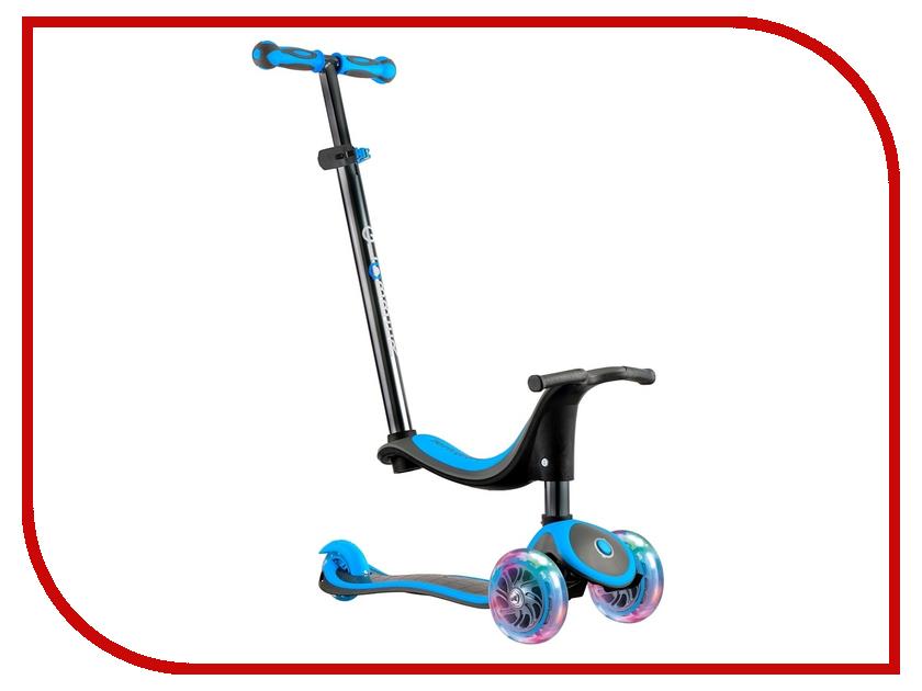Самокат Y-SCOO Globber EVO 4 in 1 Titanium Neon Blue со светящимися колесами самокат y scoo mini jump&go pink со светящимися колесами