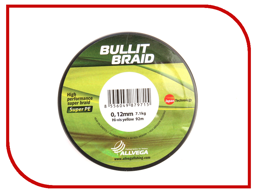 Шнур плетёный Allvega Bullit Braid 0.12mm 92m Hi-Vis Yellow 044787