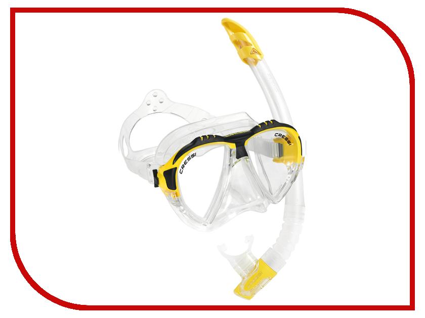 Аксессуар Cressi Набор маска Matrix + трубка Gamma Transparent-Yellow DS302504