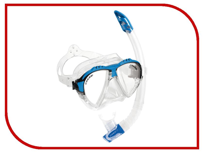 Аксессуар Cressi Набор маска Matrix + трубка Gamma Transparent-Blue DS302501