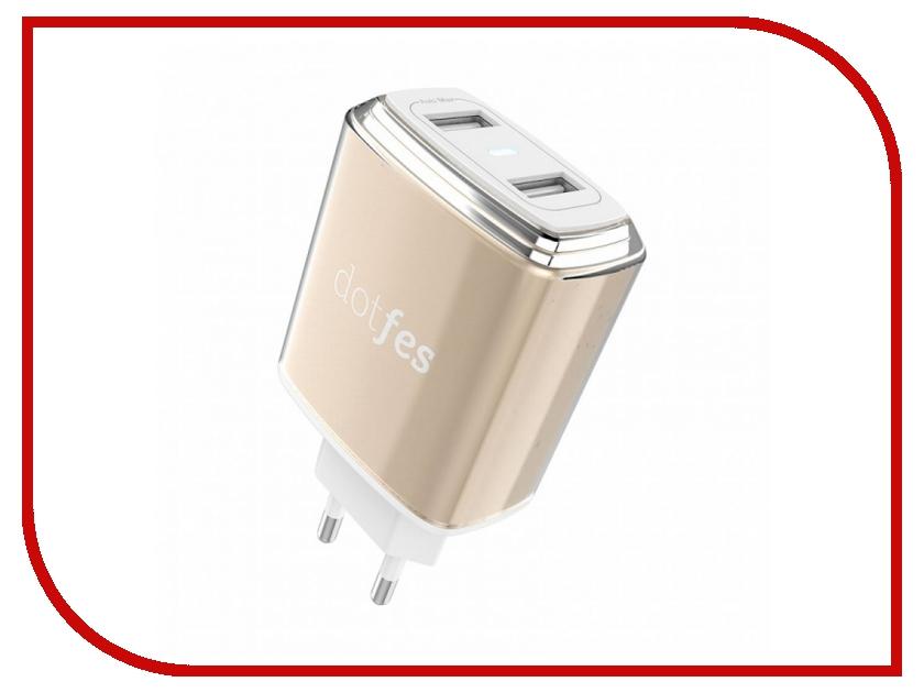 Зарядное устройство Dotfes C01 2xUSB 3.4A Gold зарядное устройство dotfes b03s 2xusb 4 8a lightning gold 03179