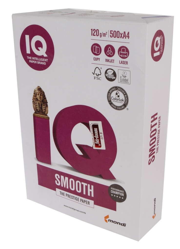Бумага IQ Selection Smooth А4 120g/m2 500л A+