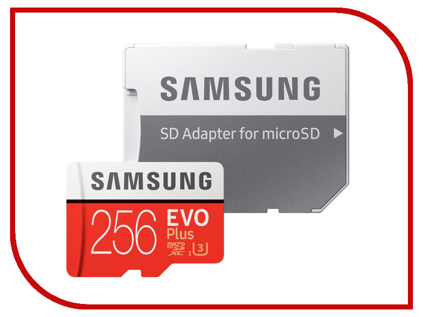 Карта памяти 256Gb - Samsung - Micro Secure Digital HC EVO Plus UHS-I Class 10 SAM-MB-MC256GARU с переходником под SD micro sd 256 mb