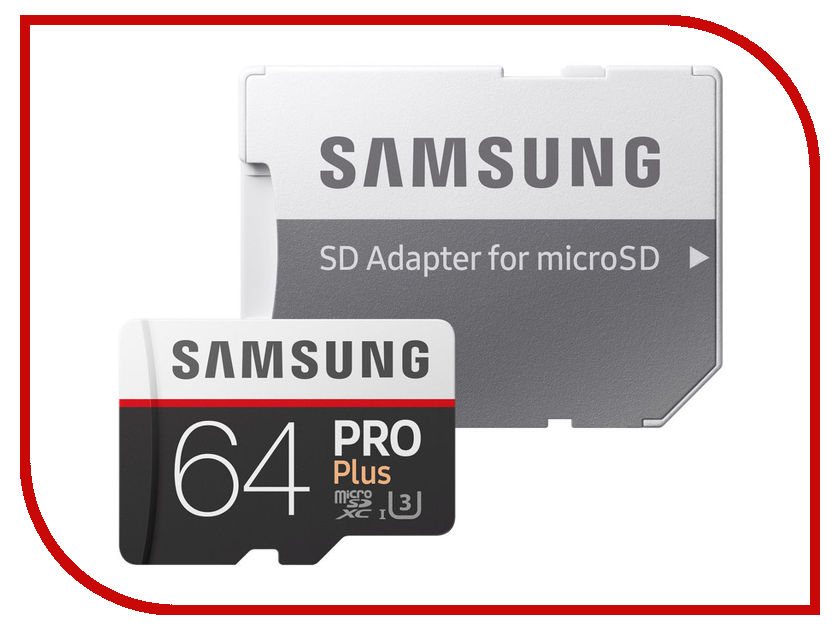 Карта памяти 64Gb - Samsung - Micro Secure Digital HC Pro Plus UHS-I U3 Class