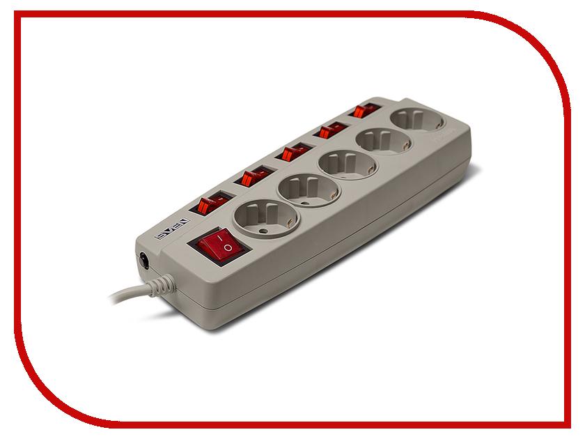 Сетевой фильтр Sven Platinum 5 Sockets 1.8m Grey SV-012984 сетевой фильтр sven sv 012984 5 розеток 1 8 м серый sv 012984