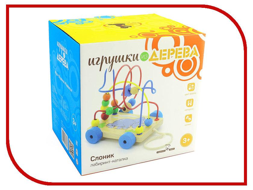 Игрушка Мир деревянных игрушек Лабиринт-каталка Слоник Д036