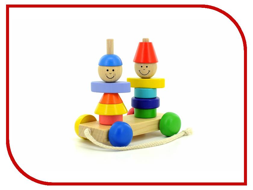 игрушка Мир деревянных игрушек Пирамидка-каталка Мальчик и девочка Д354 мир деревянных игрушек пирамидка каталка кот и собака д353