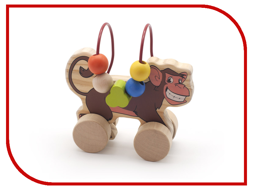 Игрушка Мир деревянных игрушек Лабиринт-каталка Обезьяна Д357 игрушка мир деревянных игрушек лабиринт каталка крокодил д362