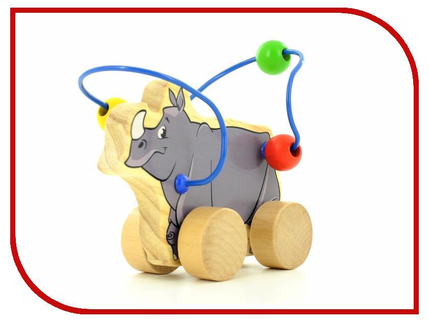 Игрушка Мир деревянных игрушек Лабиринт-каталка Носорог Д365 мир деревянных игрушек лабиринт каталка жираф