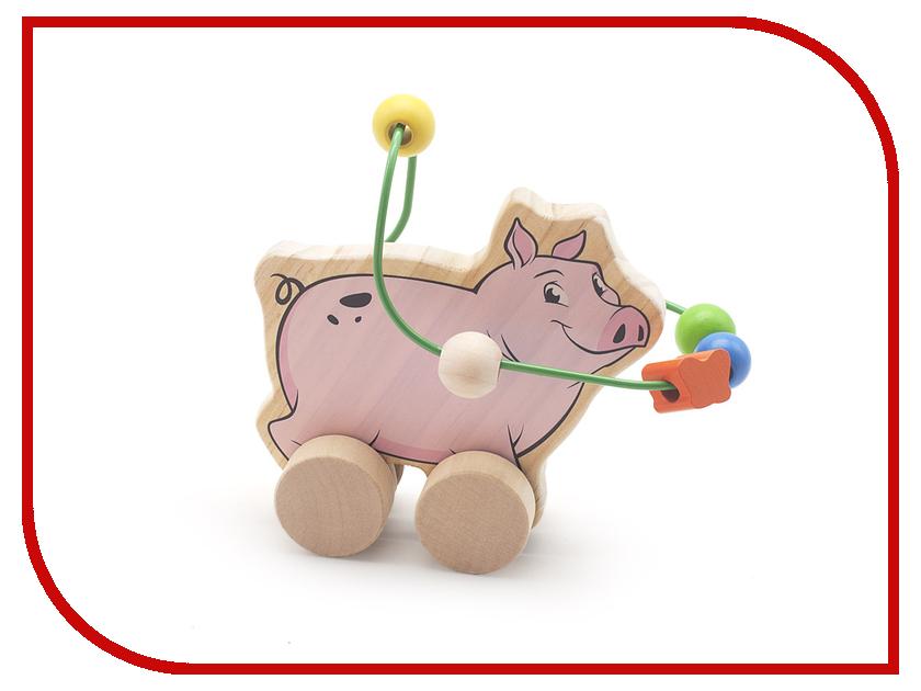 Игрушка Мир деревянных игрушек Лабиринт-каталка Свинья Д367 игрушка мир деревянных игрушек лабиринт каталка крокодил д362
