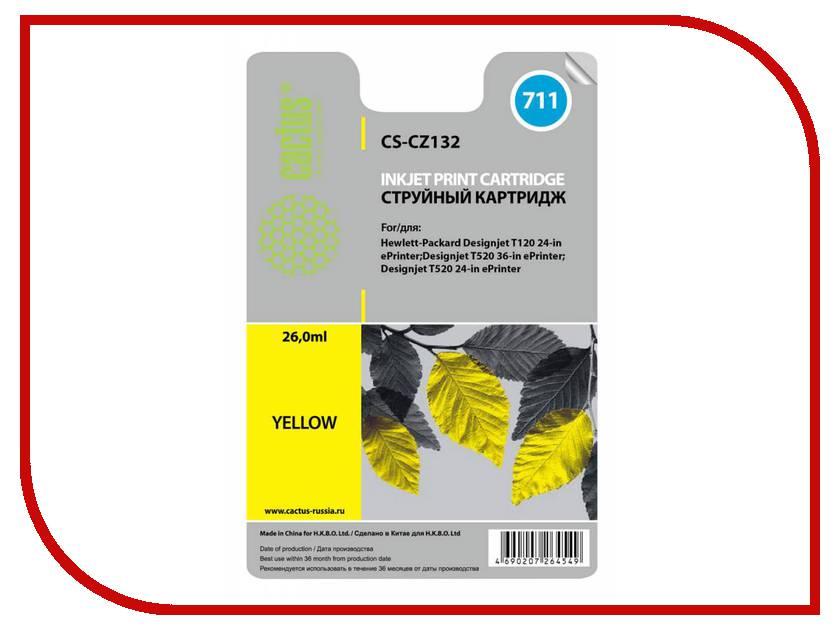 Картридж Cactus CS-CZ132 №711 Yellow для HP DJ T120/T520 26мл тонер картридж cactus cs ep22s