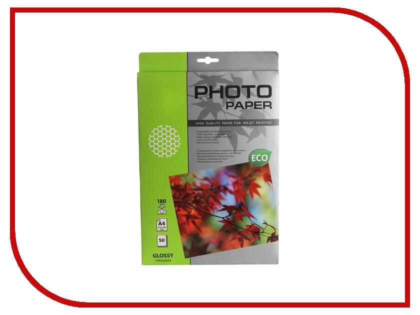 Фотобумага Cactus CS-GA418050E A4 180g/m2 50 листов White Glossy фотобумага cactus cs ga6180100e 10x15 180g m2 100 листов white glossy