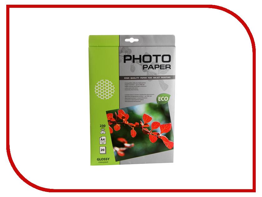 Фотобумага Cactus CS-GA423020E A4 230g/m2 20 листов White Glossy фотобумага cactus cs ga6180100e 10x15 180g m2 100 листов white glossy