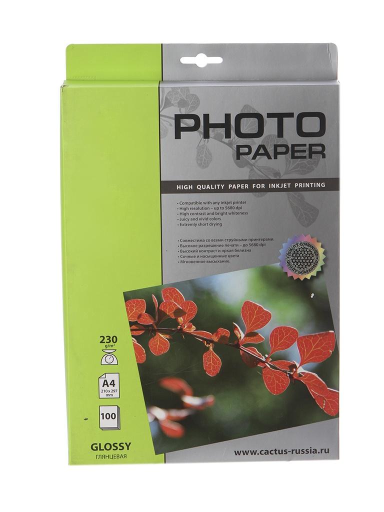 Фотобумага Cactus CS-GA4200100 A4 200g/m2 100 листов White Glossy фотобумага epson c13s042535 photo paper glossy a3 200g m2 20 листов