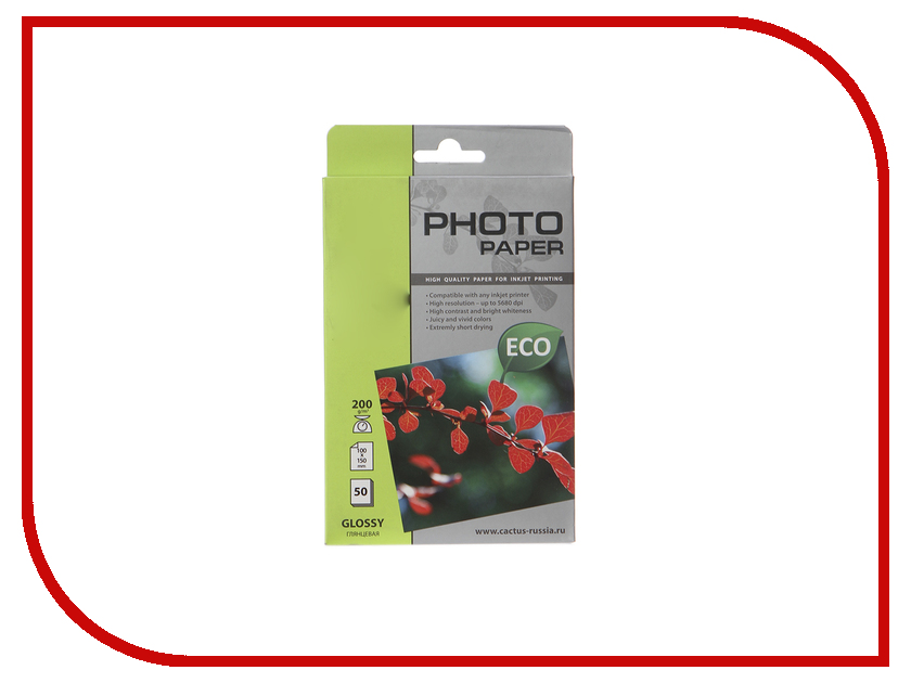 Фотобумага Cactus CS-GA620050E 10x15 200g/m2 50 листов White Glossy фотобумага cactus cs ga6180100e 10x15 180g m2 100 листов white glossy