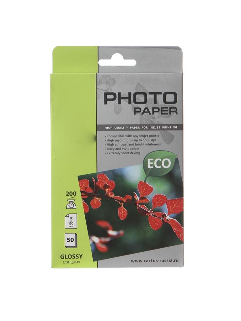 Фотобумага Cactus CS-GA620050E 10x15 200g/m2 50 листов White Glossy фотобумага epson c13s042535 photo paper glossy a3 200g m2 20 листов