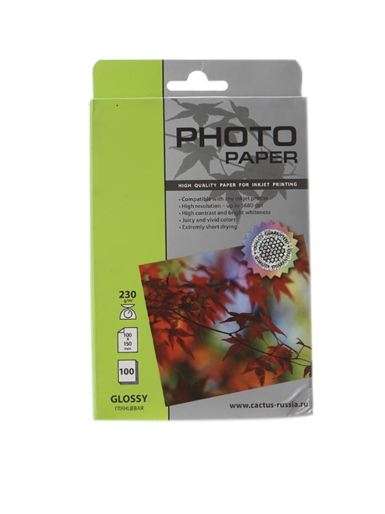 Фотобумага Cactus CS-GA6230100 10x15 230g/m2 100 листов White Glossy