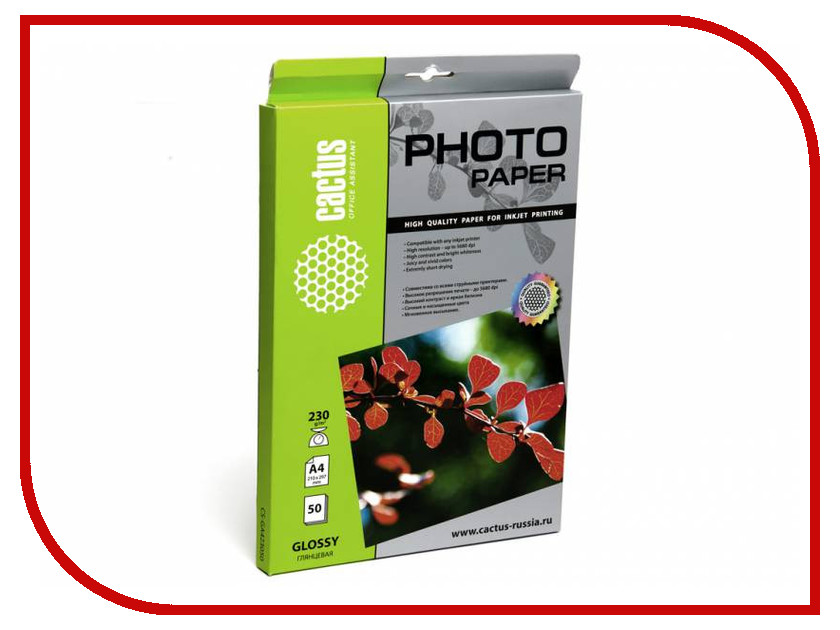 Фотобумага Cactus CS-GA423050 A4 230g/m2 50 листов White Glossy