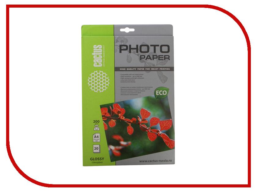 Фотобумага Cactus CS-GA420020E A4 200g/m2 20 листов White Glossy фотобумага cactus cs ga6180100e 10x15 180g m2 100 листов white glossy