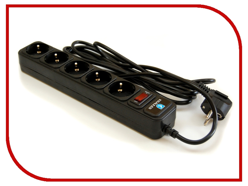 Сетевой фильтр Krauler 5 розеток 1.5м Black KR-5-1,5M (B) сетевой фильтр ippon bk212 1 8 м 6 розеток black