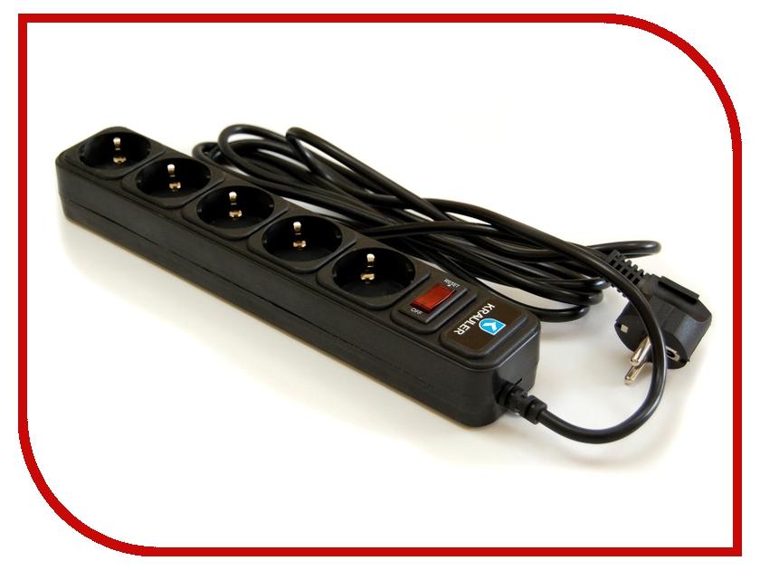 Сетевой фильтр Krauler 5 розеток 3м Black KR-5-3,0M (B)