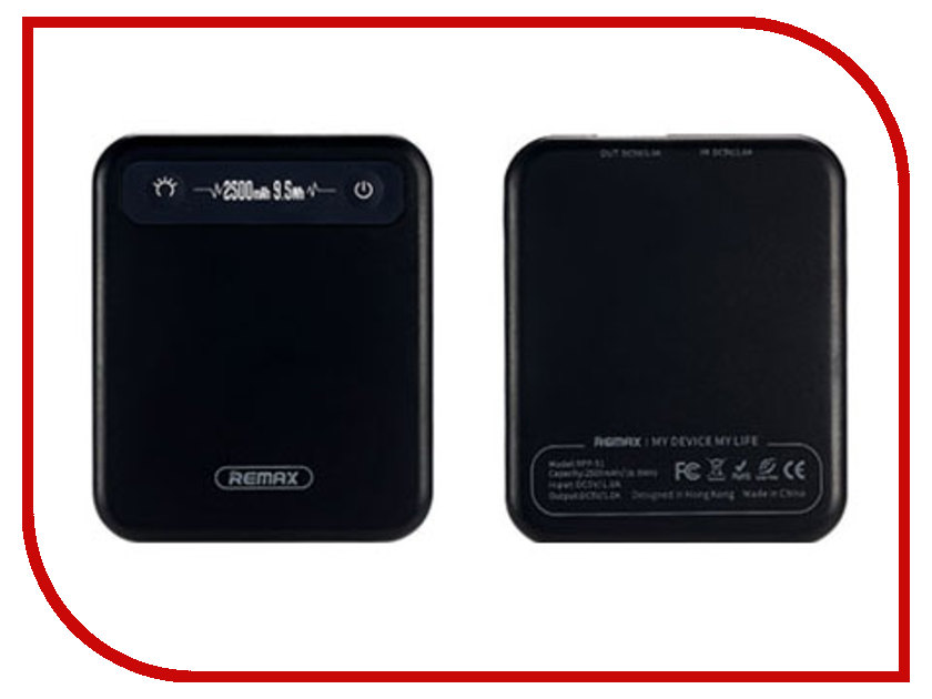 Аккумулятор Remax Pino RPP-51 Power Bank 2500mAh Black внешний аккумулятор remax proda power 30000mah black