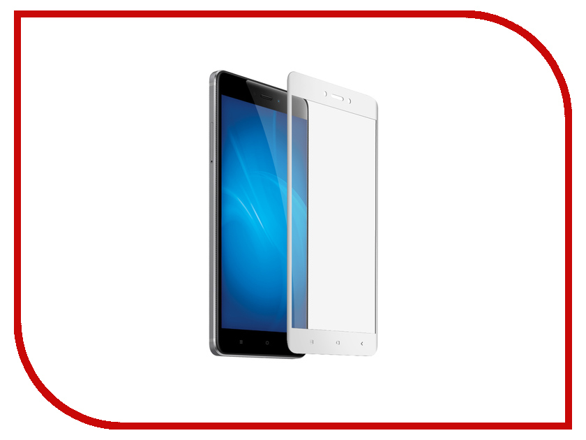 Аксессуар Закаленное стекло для Xiaomi Redmi 4X DF Full Screen xiColor-12 White аксессуар чехол для xiaomi redmi 4x df xiflip 12