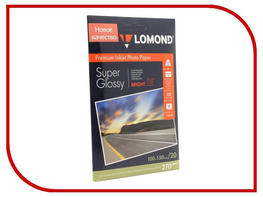 Фотобумага Lomond 1106102 суперглянцевая A6 270g/m2 20 листов lomond 0102050 lomond
