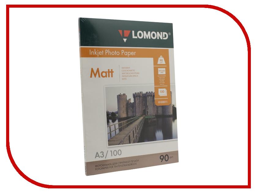 Фотобумага Lomond 102011 матовая A3 90g/m2 одностороняя 100 листов фотобумага lomond a3 1106302 1106302
