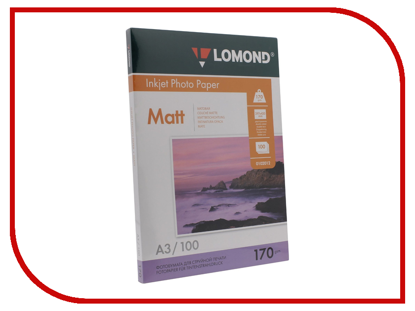 Фотобумага Lomond 102012 матовая A3 170g/m2 двухсторонняя 100 листов фотобумага юлмарт