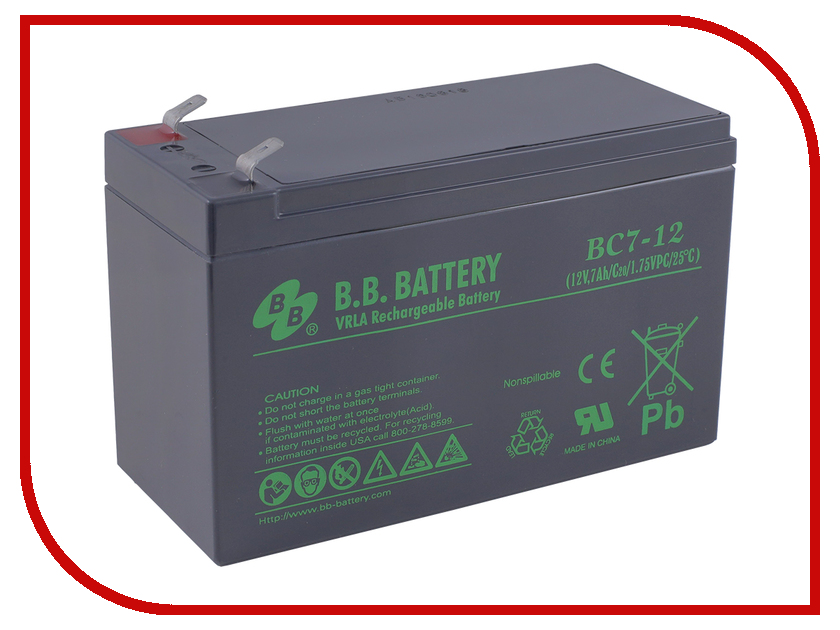 Аккумулятор для ИБП B.B.Battery BC 7-12 аккумулятор для ибп b b battery bc 7 12