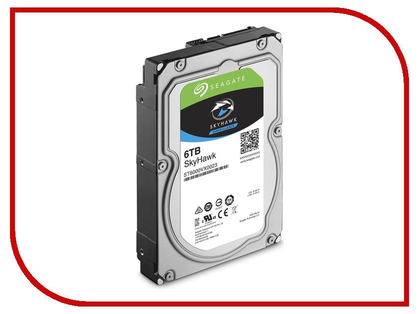 Жесткий диск 6Tb - Seagate SkyHawk Surveillance ST6000VX0023 накопитель на жестком магнитном диске seagate жесткий диск hdd 1tb seagate skyhawk st1000vx005 3 5