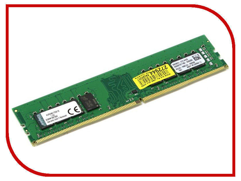 Модуль памяти Kingston DDR4 DIMM 2400MHz PC4-19200 CL17 - 16Gb KVR24N17D8/16 модуль памяти patriot memory ddr4 so dimm 2400mhz pc4 19200 cl17 4gb psd44g240041s
