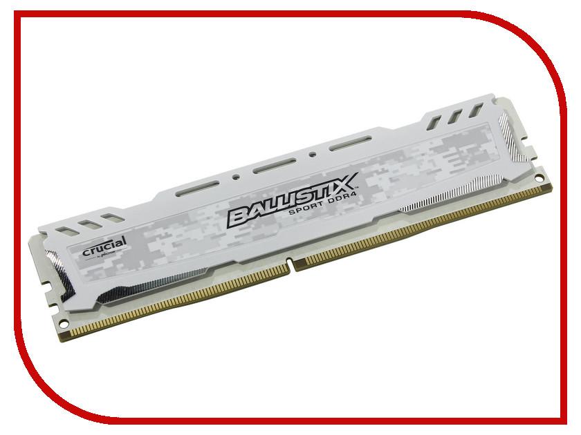 Модуль памяти Crucial Ballistix Sport LT White DDR4 UDIMM 2666MHz PC4-21300 - 16Gb BLS16G4D26BFSC crucial ballistix sport lt ddr4 8gb 2666 мгц white модуль оперативной памяти bls8g4d26bfsck