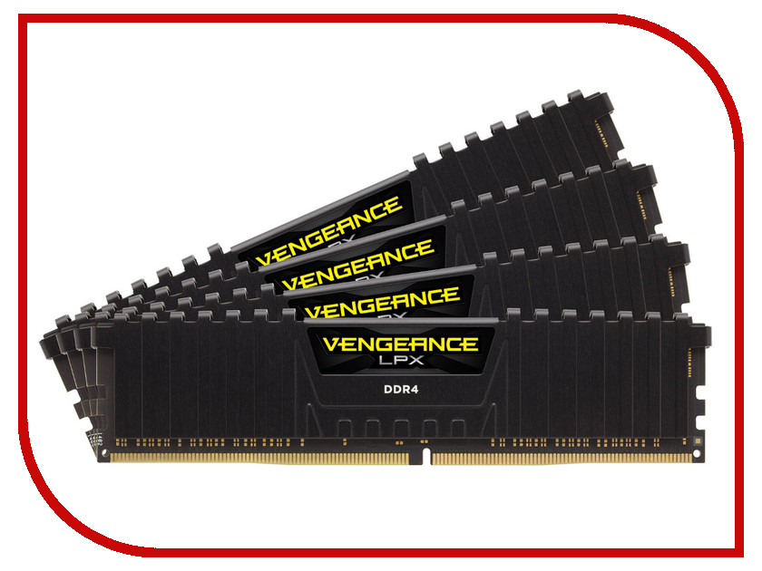 Модуль памяти Corsair Vengeance LPX DDR4 DIMM 3333MHz PC4-26600 CL16 - 64Gb KIT (4x16Gb) CMK64GX4M4B3333C16 модуль памяти corsair vengeance lpx cmk32gx4m4b3733c17r ddr4 4x 8гб 3733 dimm ret